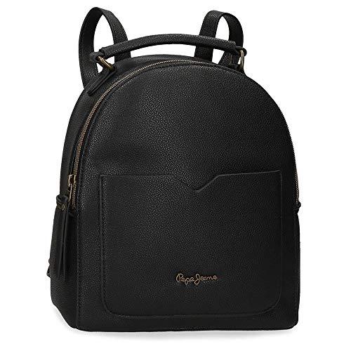 Pepe Jeans India Rucksack Handtasche Schwarz 22x25x10 cms Synthetisches Leder