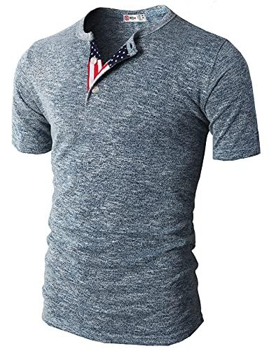 H2H Mens American Flag Henley t-Shirt Blue US...