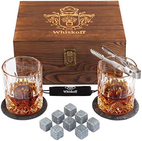 Whiskey Glass Set of 2 Bourbon Whiskey Stones Gift Set Rocks Whisky Chilling Stones Scotch Glassess product image