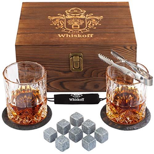 Set di 2 bicchieri da whisky, set da 2 pezzi con pietre per whisky, rocce e whisky, in scatola di legno, set di pietre Wisky