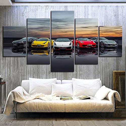 YUANSAHN canvasdruk druk druk poster Home Decoration canvas schilderij 5 panelen auto ophangen foto's modulaire muurkunst jongen kamerframe