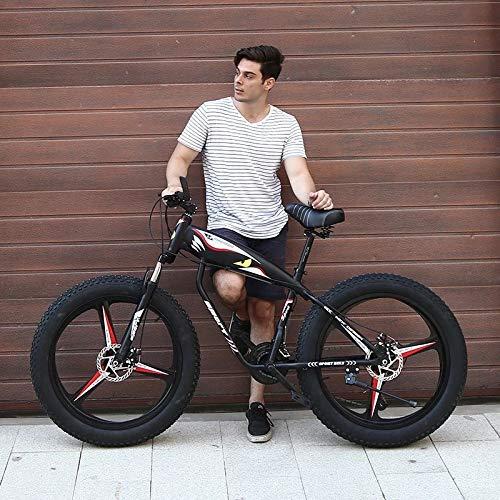 Fat Tire Mountain Bike, 21 Speed Anti-Slip Bike, 26 inch Fat Tire Sand Bike, Double Disc Brake Suspension Fork Suspension, Fat Tire Bikes for Men (from US,Black)