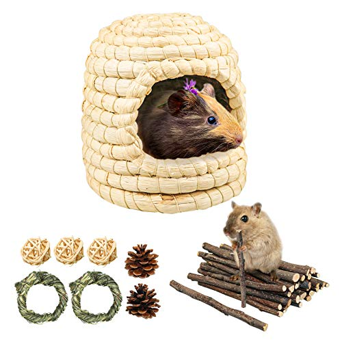 Nido de paja para hámsters, nido de paja trenzado, cama para roedores, cama con anillo de hierba Timothy y piñas de pino para hámsters, conejos enanos, ardillas, cobayas, periquitos de periquito (M)