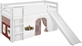Lilokids Spielbett JELLE mit Rutsche und Vorhang Lit pour Enfant, Bois, Blanc, 198 x 98 x 113 cm