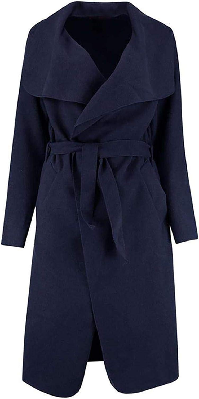 Giope05 Women Fashion Woolen Coat Jacket Medium Long Solid Big Lapel Windbreaker Coat Pea Coats