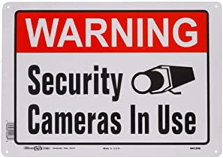 Hillman 843296 Warning Security Cameras In Use Sign, White, Red and Black Aluminum Metal, 10x14 Inches 1-Sign