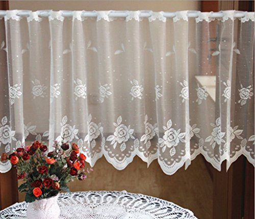 ZHH Crochet Flower Lace Cafe Curtain Sheer Window Valance 19 by 59-Inch, White