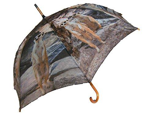 Regenschirm Erdmännchen mit Holzgriff, Automatikschirm, Stockschirm