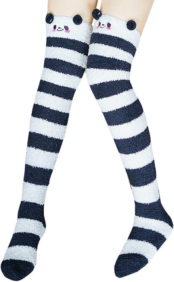 GSHLLO Cute Striped Fluffy Over Knee Socks Stockings Thigh High Long Socks Leg Warmers for Women Girls