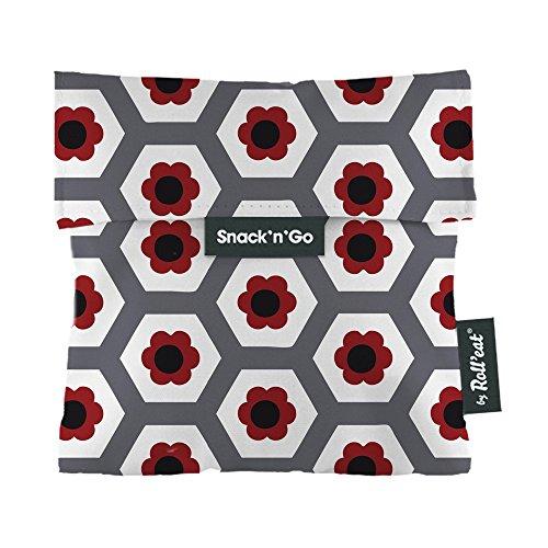 Roll'eat Snack'n'Go – Snackbeutel | wiederverwendbarer, ökologische Lunchbox, BPA frei, leicht zu reinigender Snackbag - Motiv: Tiles Born BCN, Blumen, Farbe rot, grau, schwarz, 16 x 16 cm