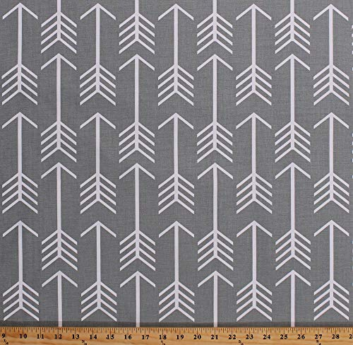 54' Decorator Weight Flight of Arrows on Medium Gray Home Decor Window Treatment Upholstery Fabric by The Yard (D795.27)