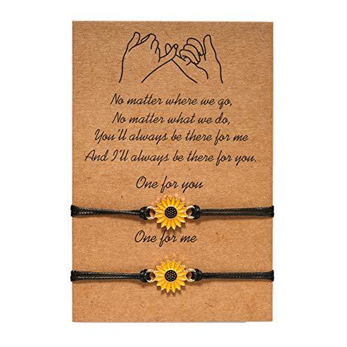 Teblacker 2 pulseras ajustables con diseño de girasoles, color negro, para el amor y la amistad