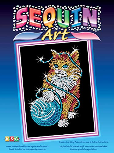 MAMMUT 8040430 - Sequin Art Paillettenbild Kätzchen, Katze, Steckbild, Bastelset mit Styropor-Rahmen, samtige Bildvorlage, Pailletten, Steckstiften, Anleitung, ab 8 Jahre