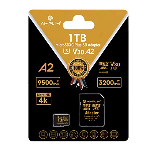 Amplim 1TB Micro SD Card, New 2021 170MB/S A2 MicroSD Memory Plus Adapter, MicroSDXC U3 Class 10 V30 UHS-I Extreme High Speed for Nintendo-Switch, GoPro Hero, Surface, Phone, Camera Cam, Tablet