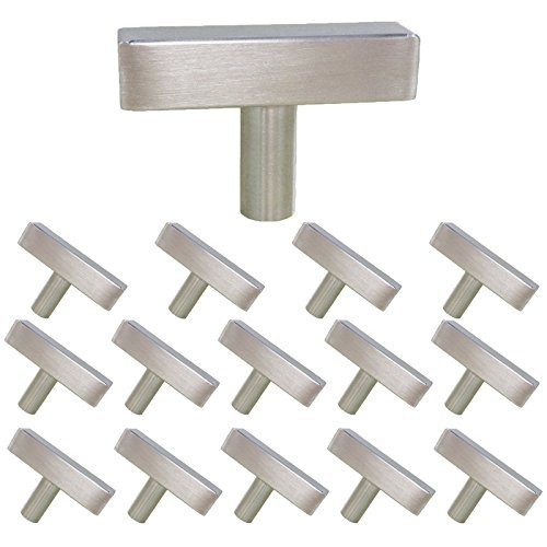 homdiy Brushed Nickel Cabinet Knobs 15 Pack Kitchen Knobs for Cabinets - HDJ22SN Single Hole Knob with 2 in Overall Length Metal Drawer Knobs Modern Cabinet Hardware Knobs for Closets, Bedroom Drawers