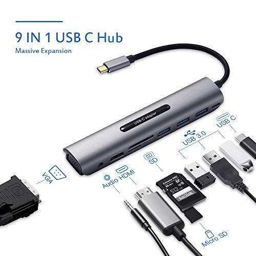 HUB USB C, HUB USB 3.0 Adattatore 9 in 1 in Alluminio
