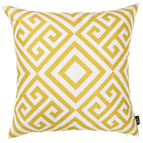 "Best Shop 18""x 18"" Yellow Tropical Greek Printed Decorative Throw Pillow Cover"