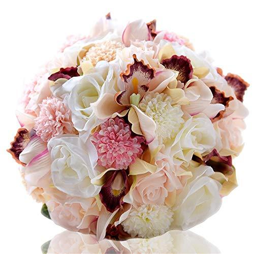 Ouuager-Home Ramo de Novia Vintage Artificial Ramo de la Boda Flores Flores Falsos for jardín de la Boda Decoración (Color : White, Size : Free Size)