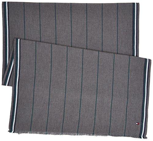Tommy Hilfiger Pin Stripe Woven Scarf Sciarpa, Grigio (Silver Fog Heather 005), Taglia unica Uomo