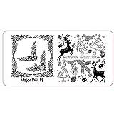 Fliyeong 1 unids Navidad DIY Nail Art Manicura Plantilla, placa de estampación de imagen de placas Herramientas C Durable y Útil