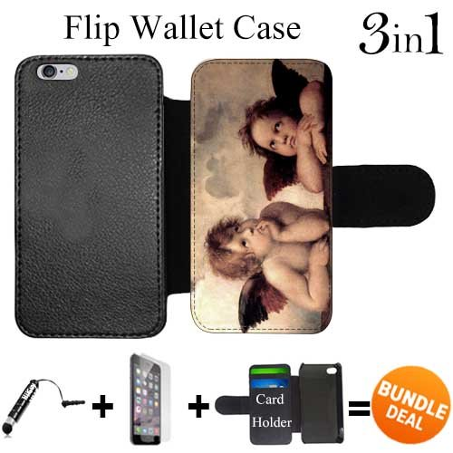 Flip Wallet Case for iPhone 6 Plus/6S Plus (The Sistine Madonna Cute Angels) with 3 Card Holders | Shock Protection | Lightweight | Includes HD Tempered Glass and Stylus Pen by Innosub
