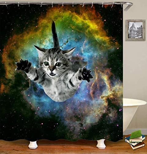 /N Galaxy Starry Dream Cute Cat, impresión 3D HD no se desvanecerá, Cortina de Ducha Impermeable de poliéster,