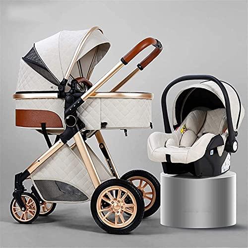 Carruaje de bebé convertible para bebés y niños pequeños, cochecito de bebé de absorción de golpes, arnés de 5 puntos y canasta de alto almacenamiento, cochecito de cochecito con cubierta de lluvia y