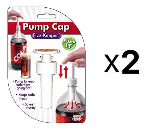 Jokari Fizz Keeper Pump Cap 2 Liter/Lt Soda Pop Bottles Saves Carbonation 2-Pack