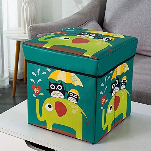 Caja de cubo con cojín de espuma plegable caja de almacenamiento plegable reposapiés cuadrado asiento organizador de juguetes para niños (30 x 30 x 30 cm) (color: verde)