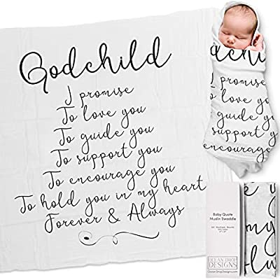 """Ocean Drop 100% Cotton Muslin Swaddle Baby Blanket – 'Godchild' Quote with Gift Box for Baptism, Christening Gift, Godson, Goddaughter, Boy or Girl, Baby Shower – Super Soft, Breathable, Large """"47x47"""" by Ocean Drop Designs"""