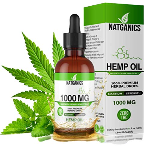 Hemp Oil 1000mg for Pain, Anxiety, Stress & Joint Relief, Mood & Sleep Support, Natural Organic...