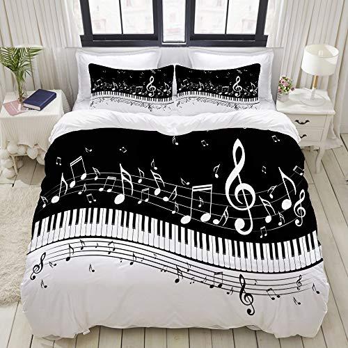 LISNIANY Bedding Juego de Funda de Edredón,Ilustración Abstracta Teclas de Piano Notas Musicales,Microfibra Funda de Nórdico y Fundas de Almohada (Cama 220x240cm+Almohada 63X63cm)