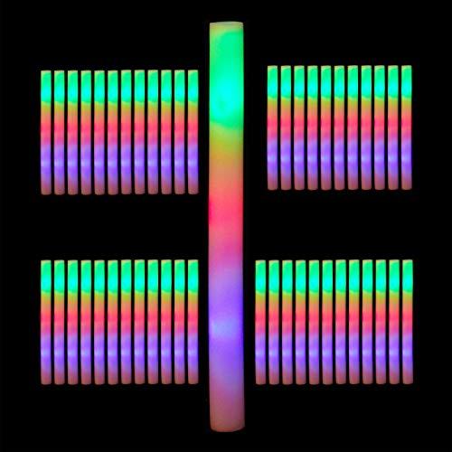 Relaxdays 48 x Leuchtstab LED, Bunte Blinkstäbe, Leuchten in 3 Modi, aus Schaumstoff, Batterien inklusive, Partystab, weiß