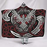 Wandlovers Disfraz vikingo de Odín de cuervos con impresión de nudos, supersuave, con capucha, disfraz prémium, blanco, 130 x 150 cm