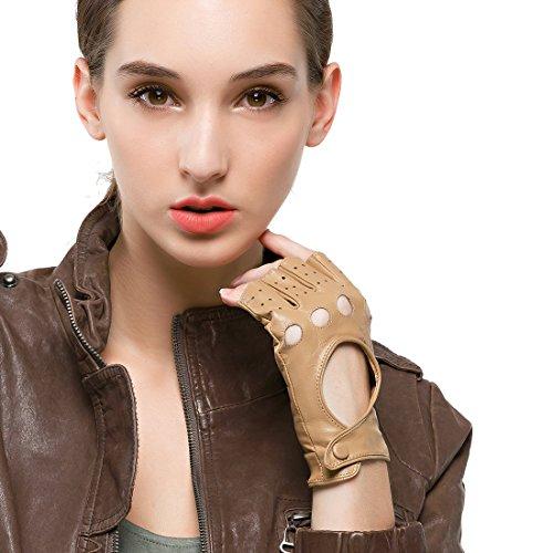 Nappaglo Gant Femme en Cuir Demi Doigt Hiver Mitaine Gant de Conduite sans Doigt en Cuir de chevreau Gant de Sport Extérieur pour Fille cadeau
