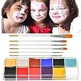 YANSHON Kinderschminke Set, 12 Wasserlösliche Schminkfarben, ungiftig Gesichtsbemalung, Gesichtsfarbe Face Paint mit 6 Pinsel, Schminkset für Kinder, Erwachsener, Fußballfan, Halloween, Themenparty