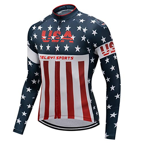 Herren Radtrikot USA Fahrradshirts Langarm Fahrradtrikot Full Zip - Blau - Etikett M (Brust 99/102 cm)