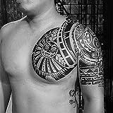 Pratcgoods Extra Temporary Tattoo Sun Tattoo Shoulder Chest Temporary Tattoo Stickers Body for Man Women, 2-Sheet