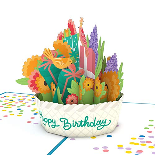Lovepop Happy Birthday Basket Pop Up Card - 3D Card, Birthday Card, Flower Basket Birthday Card, 3D Birthday Greeting Card, Birthday Pop Up Card, 3D Birthday Card, Birthday Greeting Cards
