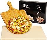 PONNOR Piedra para Pizza con Espátula,Juego de Piedra para Pizza y Pala Adecuada para Horno y...
