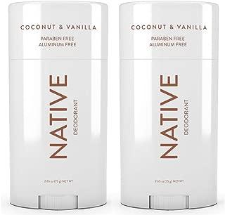 Native Deodorant Coconut & Vanilla, Aluminum and Paraben free 2.65 oz (2 pack)