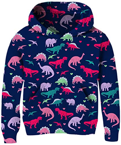 Toddlers Girl Dinosaur Sweaters Hoodies 3D Printed Colorful Animal Zoo Hooys Pullover Sweatshirts sOFT Comfy Stretch Long Sleeve Baby Kids Children Outfits for Little Boy Size 4 5 6 Years Old Clothing