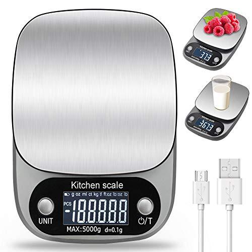 LENDOO Bilancia da Cucina Digitale con Carica USB,5kg/ 11lb-0.1g Bilance Multifunzione Alimentari Elettronica con Retroilluminato e Timer Allarme,Peso Cucina Design in Acciaio (Grigio)