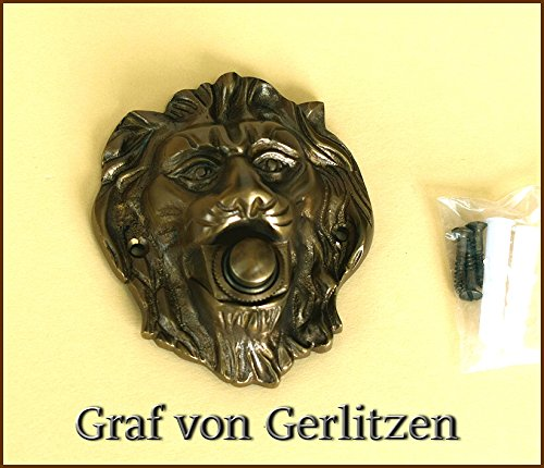 Graf von Gerlitzen Antik Messing Tür Klingel 1 Türklingel Klingelschild Klingelplatte Löwe K70A