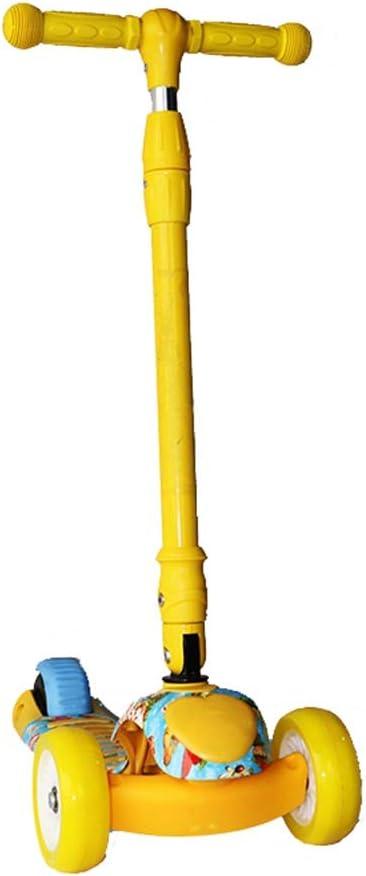 Tbaobei-Baby Scooter Apto for niños de 5 a 14 años T-Bar Vieja 3 Ruedas Altura Ajustable del Pedal Kick Scooter de Vespa con Deslizante de Ruedas Cubierta Ancha (Color : Yellow)