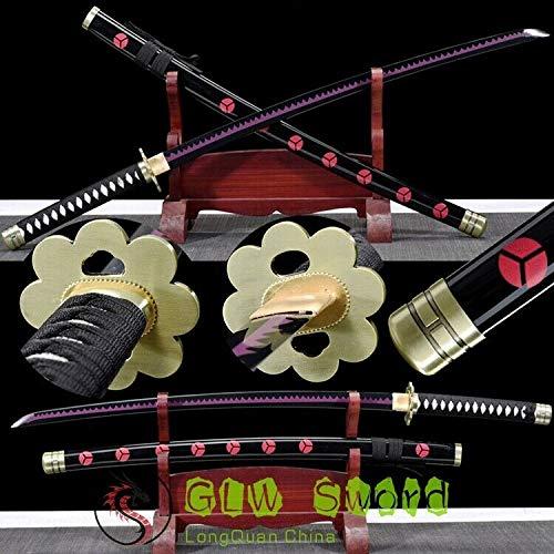 GLW Katana Handmade One Piece Zoro Sword Shusui Sandai 1045 Carbon Steel Black Purple Blade