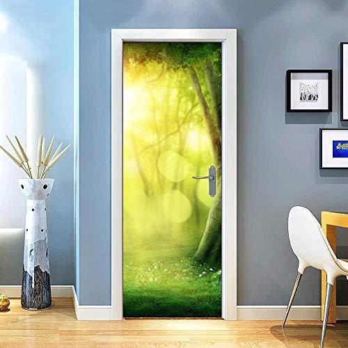 Gzltd Adhesivos para puertas Sol, gran árbol 3D Papel pintado PVC Impermeable y a prueba de aceite,adecuado para decoración de puertas sala de estar,dormitorio,cocina y baño 77x200cm