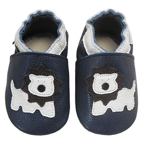 Bemesu Baby Krabbelschuhe Lauflernschuhe Lederpuschen Kinder Hausschuhe aus weichem Leder für Mädchen und Jungen Schwarz Bär (L, EU 21-22)