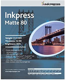 Inkpress Duo Matte 80 Inkjet Paper, 215 gsm Weight, 12 mil Thickness, 99% Brightness, Double Sided, 11x14