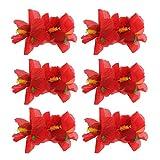 6 Pieces Hibiscus Flower Hair Clips Hawaiian Flower Hair Accessories for Girls Women Beach Wedding Party Supplies - Red